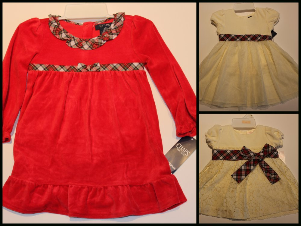 NWT CHAPS Toddler Holiday Red velvet dress bloomers plaid sash ruffle 6M 18M 24M