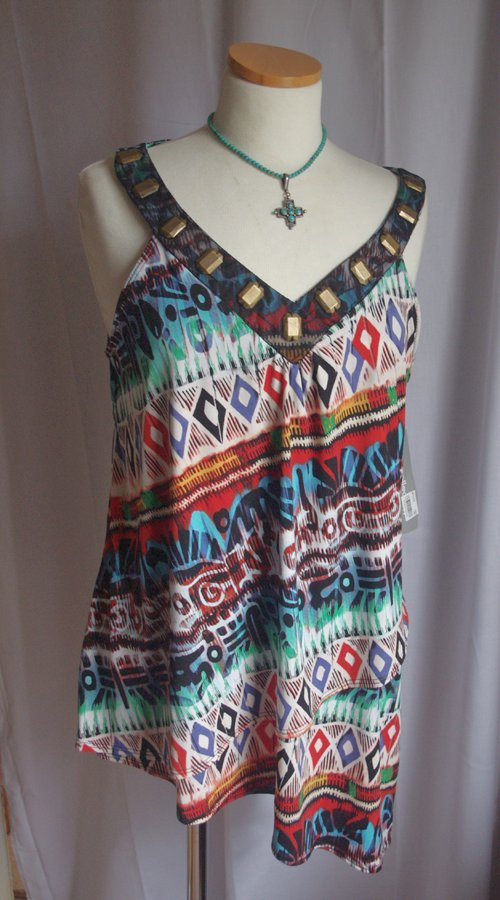ffe2d13993b Women s Size Large. Popular NY Collection brand. Up for auction is a pretty  jersey knit top. Color  Tribal print in many colors. V-neckline with black  mesh ...