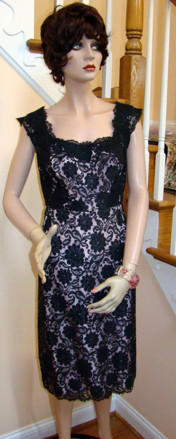 Details About Vintage Black Alencon Lace Dress With Blush Liner Size 6 8