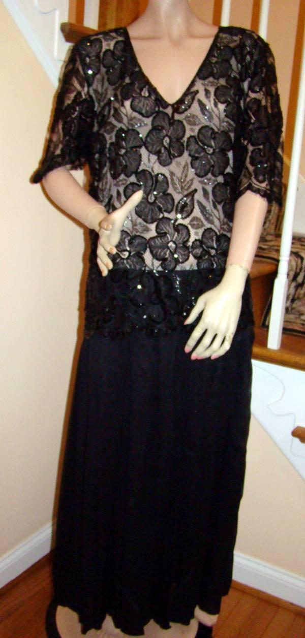 Vintage 1980s CHRISTIAN DIOR Black Robe du Soir Lace/Silk Mousseline ...