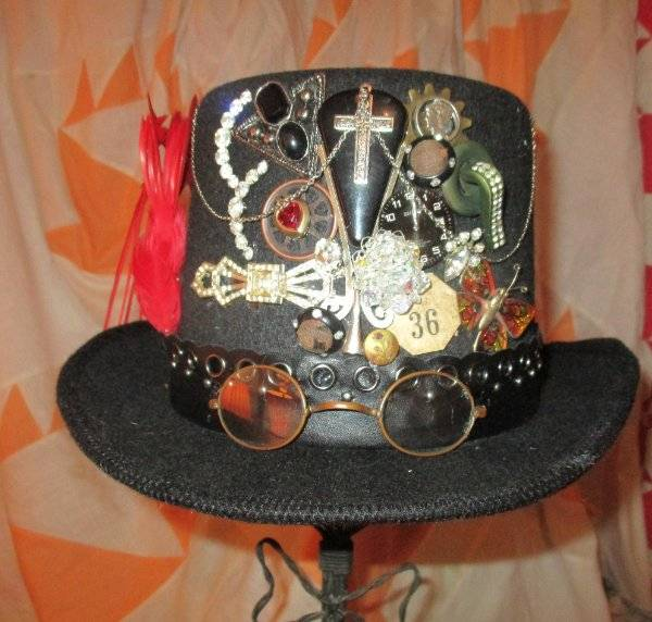 N109 Steampunk Black Top Hat with Buckle Costume Vintage Magician Ringmaster