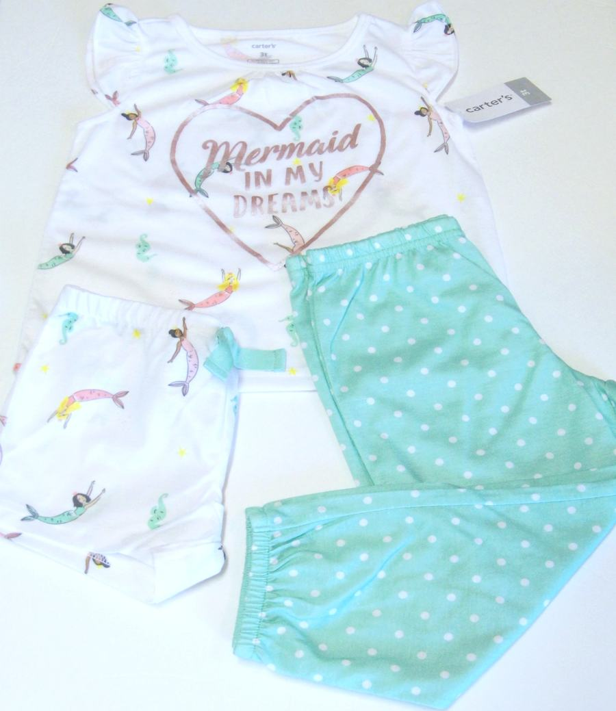 Carters Girls 4T Cotton Pajamas 4-Piece Snug Fit Pink Turquoise Cat Mermaid NWT
