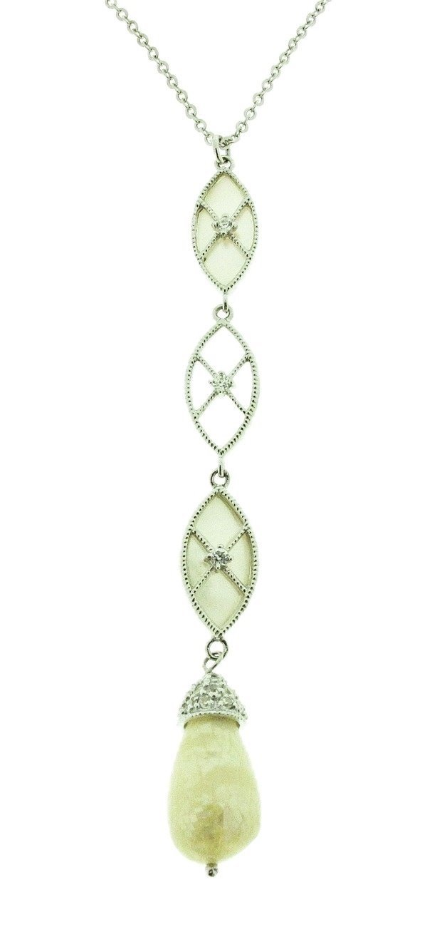 Alexa Green Adventurine Point with Bail Necklace Silver Chain