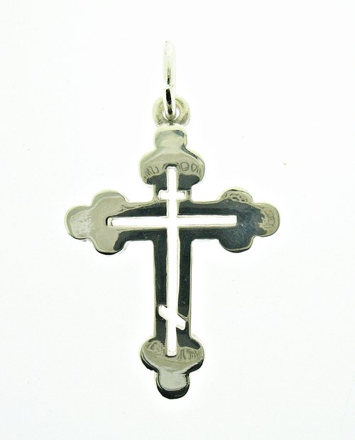Sterling silver Pendant Solid Hallmarked 925 Orthodox Cross PE000343 EMPRESS