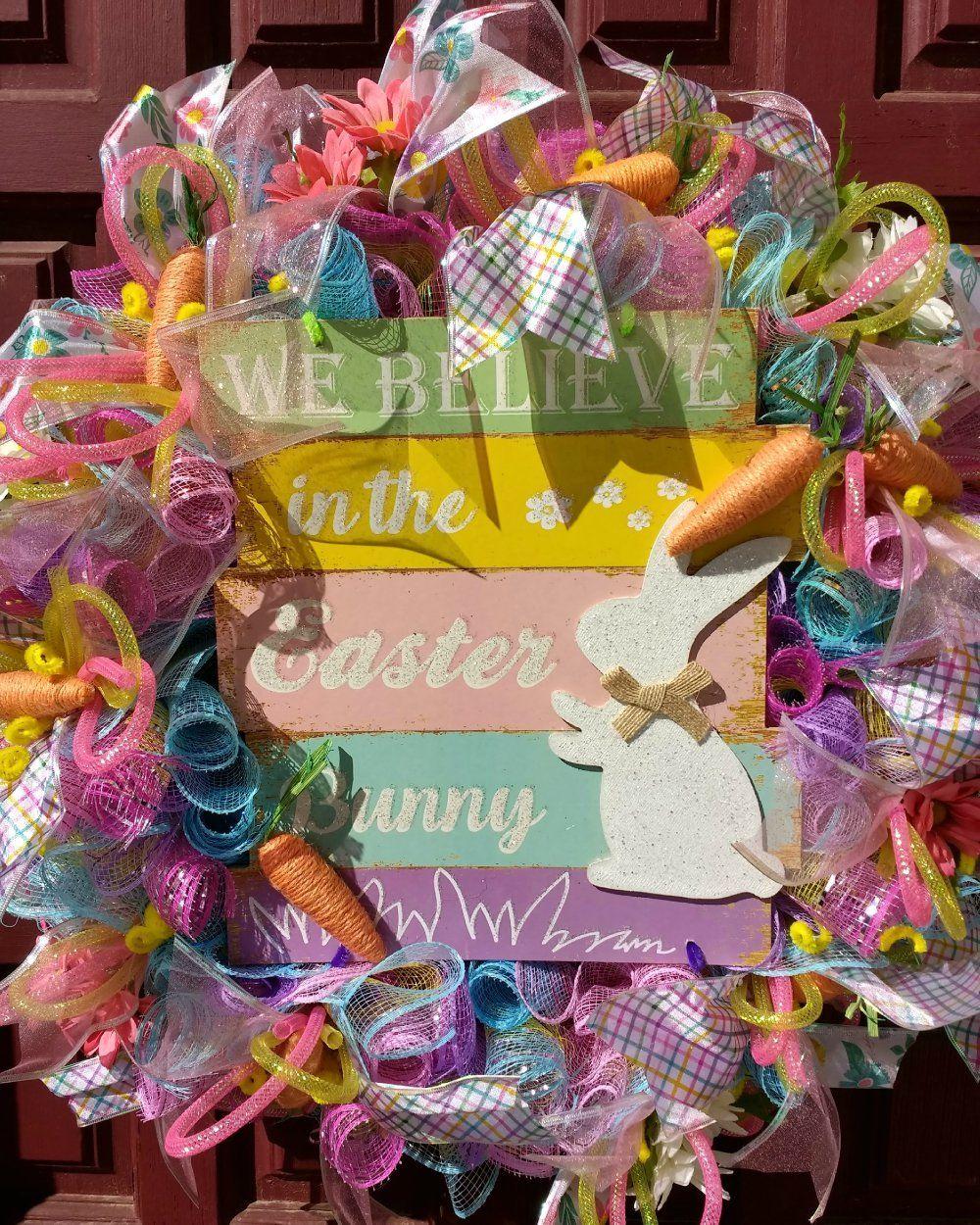 Easter Deco Mesh Wreath Believe In Easter Bunny Wreath Deco Mesh Easter Wreath Ebay