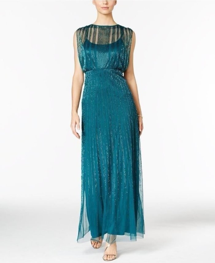 $349 Adrianna Papell Bermuda Green Beaded Striped Blouson Gown 4 NEW ...