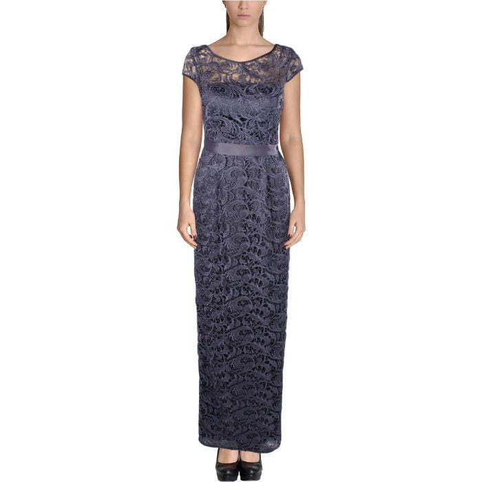 $228 Adrianna Papell Floral Lace Illusion Sheath Gown Gunmetal 2 NWT ...