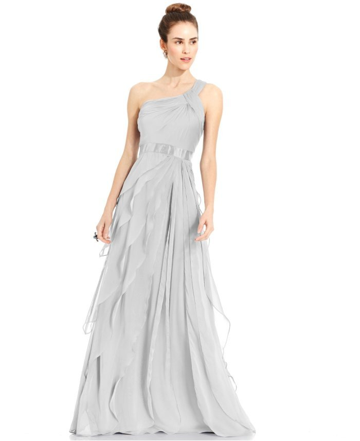 $199 Adrianna Papell Silver Tiered Chiffon Draped One Shoulder Gown ...