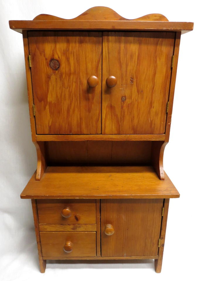 Antique Vintage Childs Toy Kitchen Hoosier Baking Cabinet Cupboard Pine  Wood Salesman Sample Shaker Style Working Doors & Drawers Very Detailed - Antique Childs Toy Kitchen Hoosier Baking Cabinet Cupboard Pine
