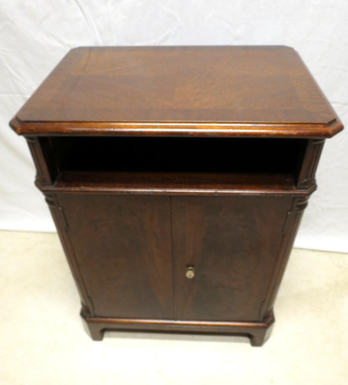 Antique Flame Mahogany Locking Cabinet Office Safe Record