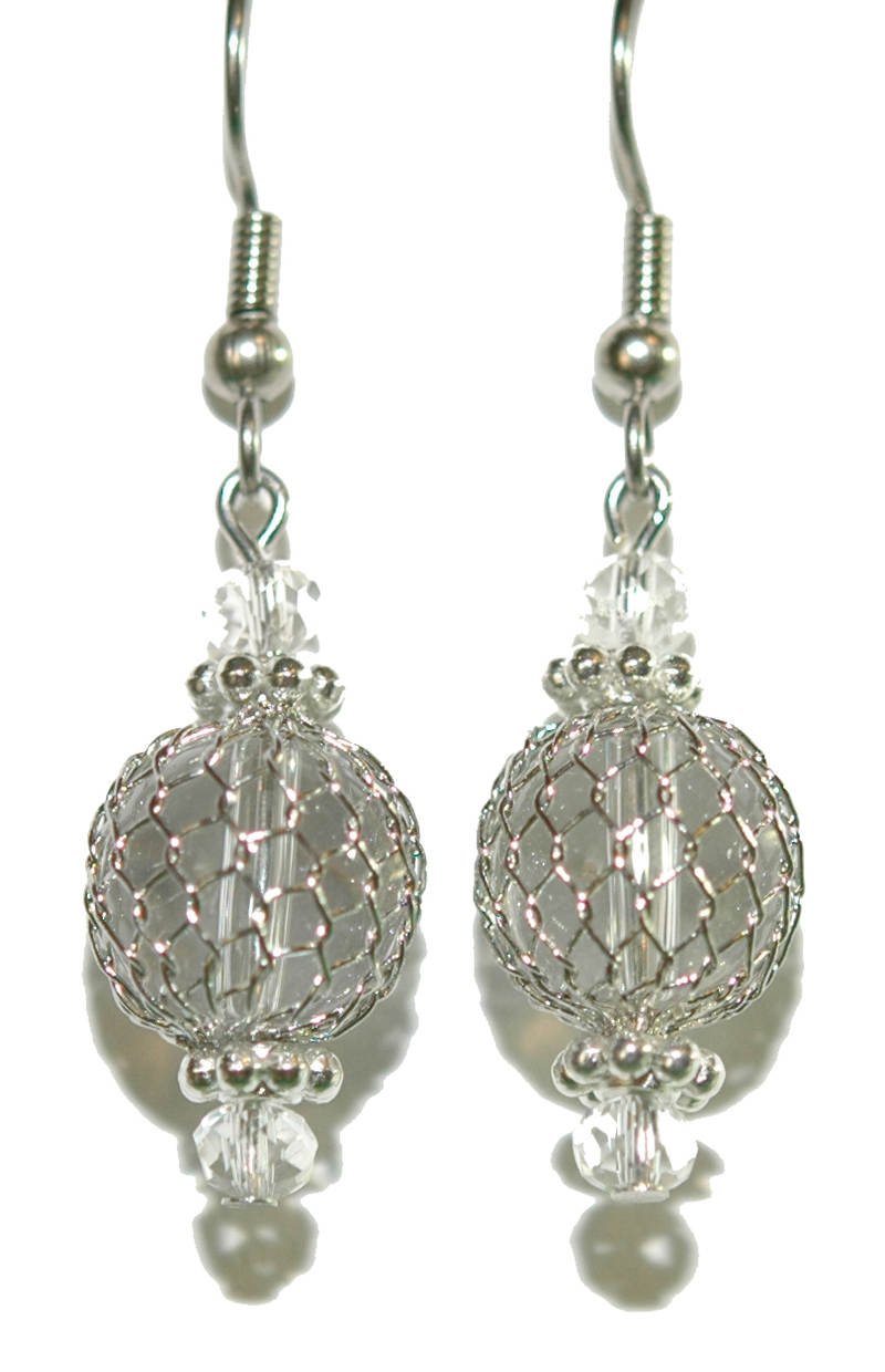 BEAUTIFUL WIRE MESH GLASS FLOAT BEACH DANGLE EARRINGS - 3 CHOICES | eBay