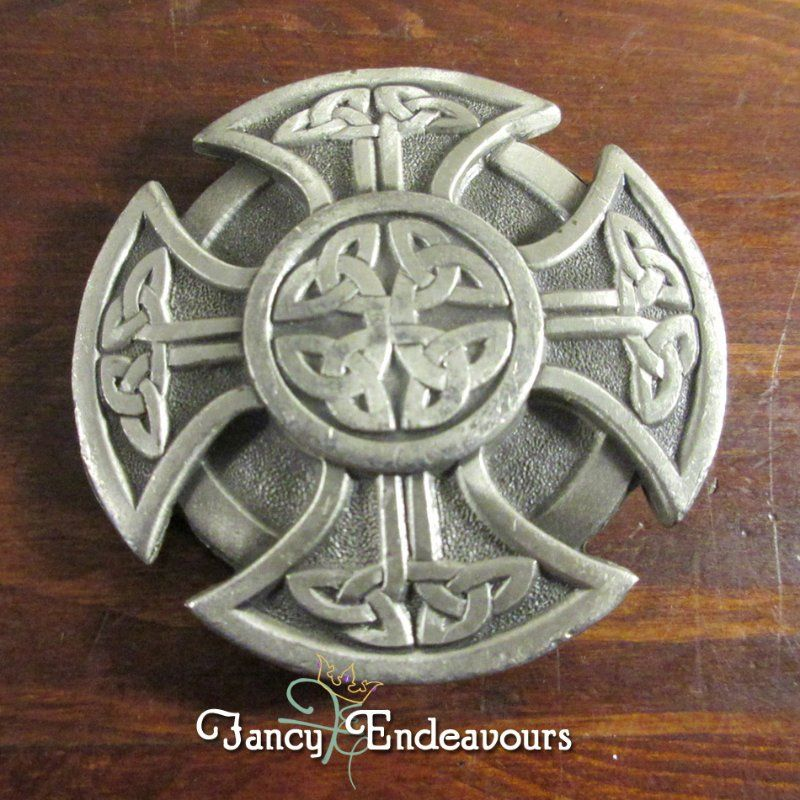 Pewter Celtic Cross Buckle Red Enamel