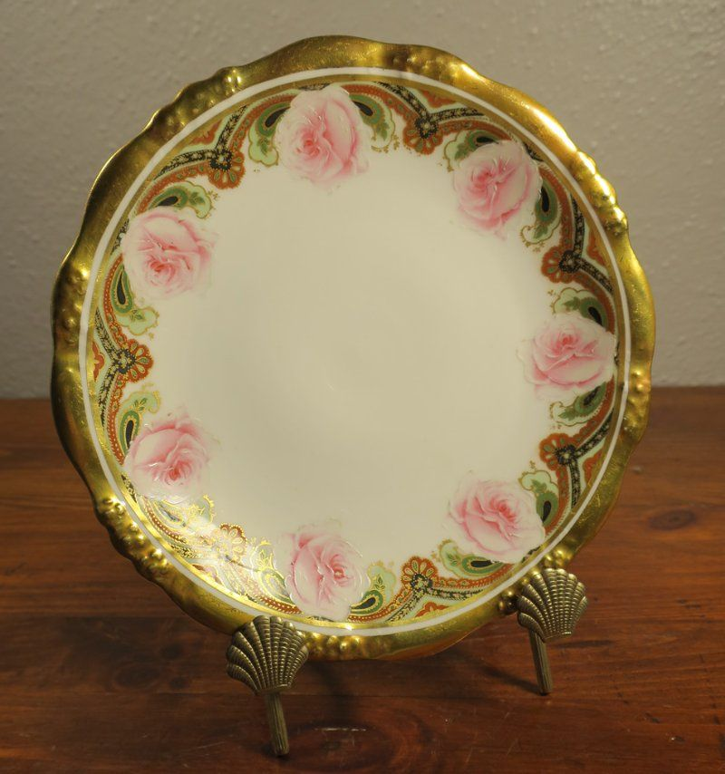 limoges pink black and gold plate