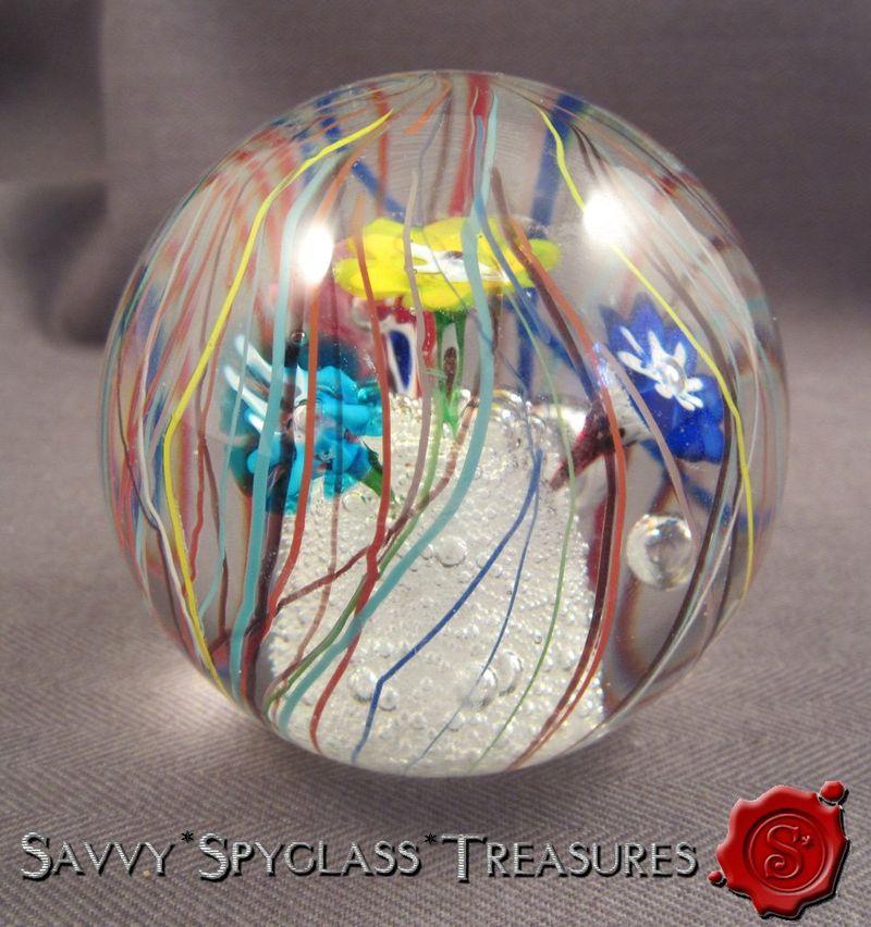 Vintage Art Glass Ferro /& Lazzarini Italian Murano Glass Paper Weight Flower Floating Above Bubbles