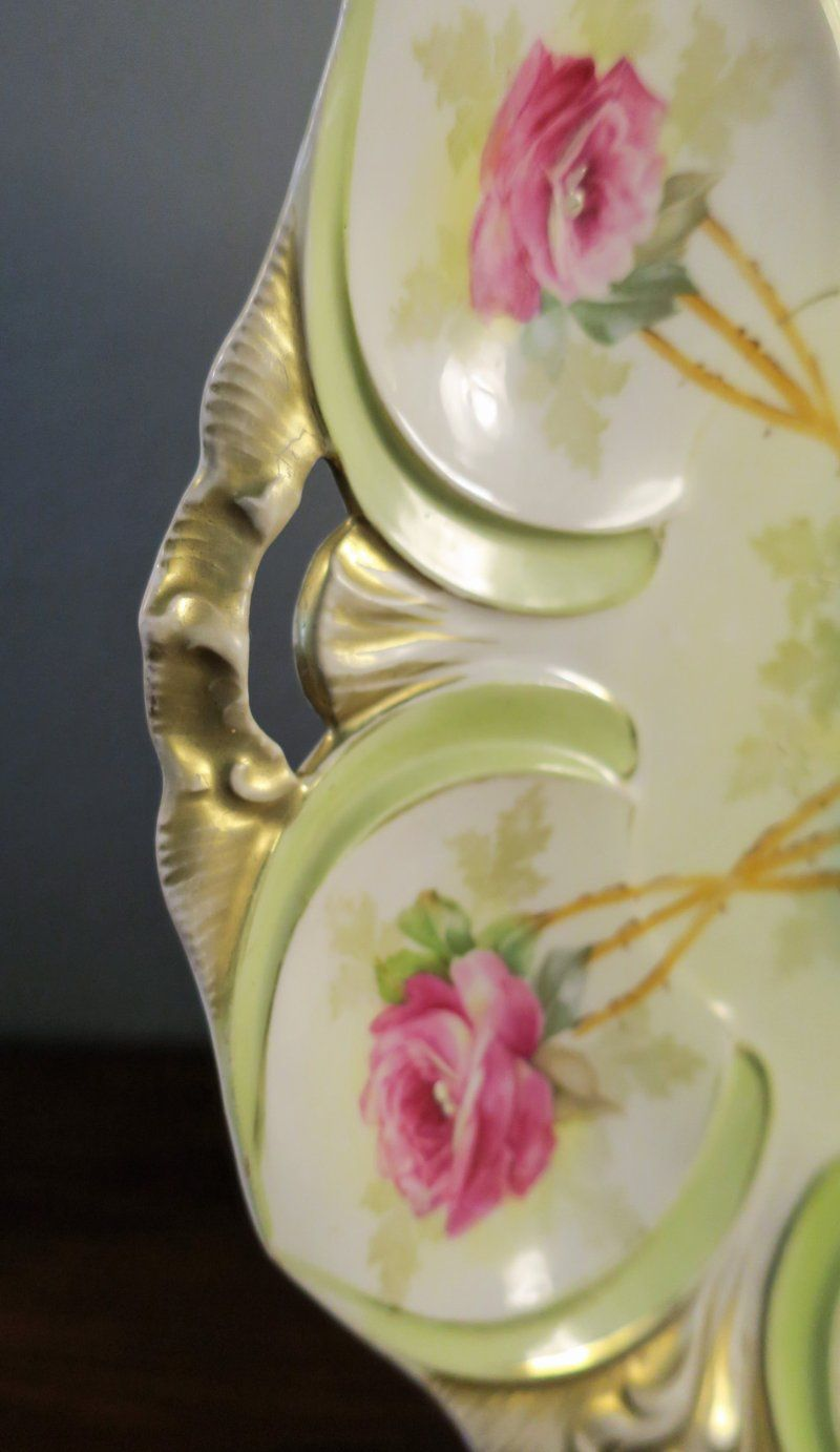 Serving Bowl Roses Collectible Germany Antiques Bowls Smart Gorgeous Antique Vintage Prussia