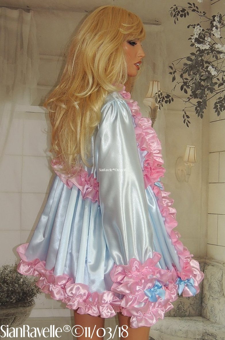 Sian Ravelle LUXURY Blue Sissy Pink Frilly Satin Baby Doll Dress ...