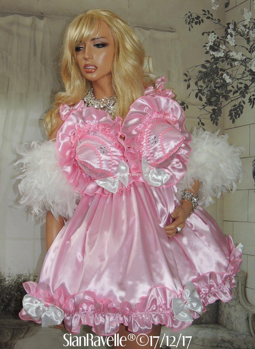 Sian Ravelle Sissy Maid Pink Satin Bullet Bra Frilly Baby Doll Cd ...