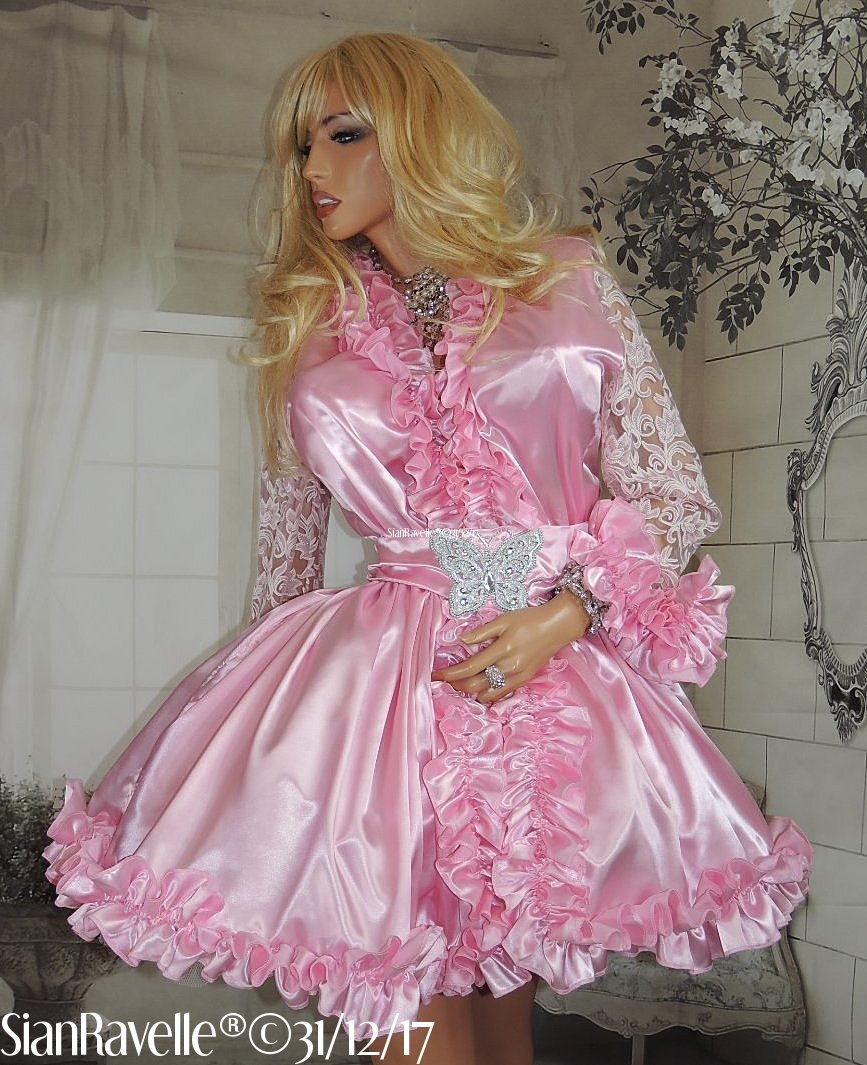 Sian Ravelle LUXURY Pink Satin Lace Frilly Sissy Baby Doll Dress ing ...