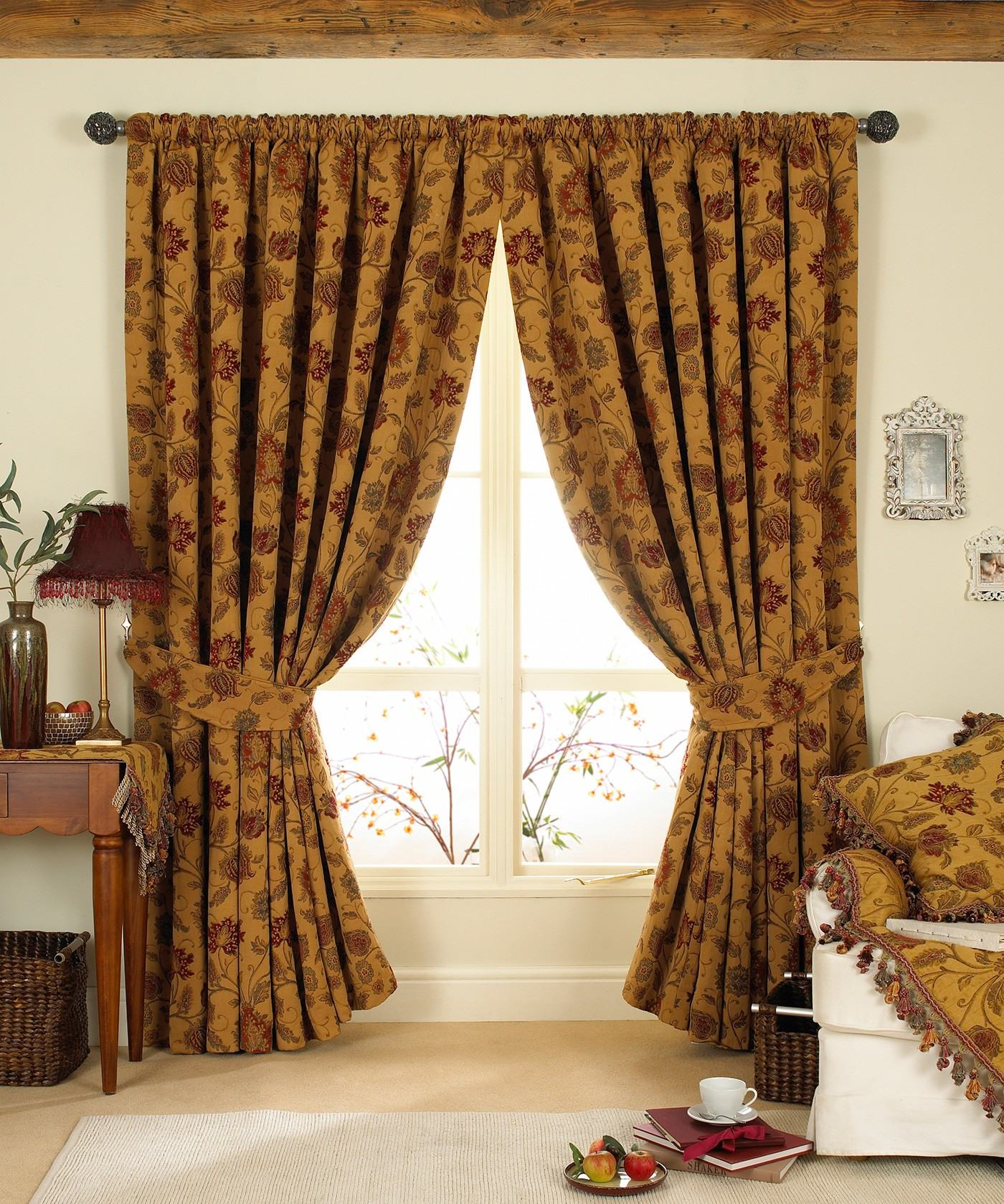 Tapestry Antique Gold Lined Curtains