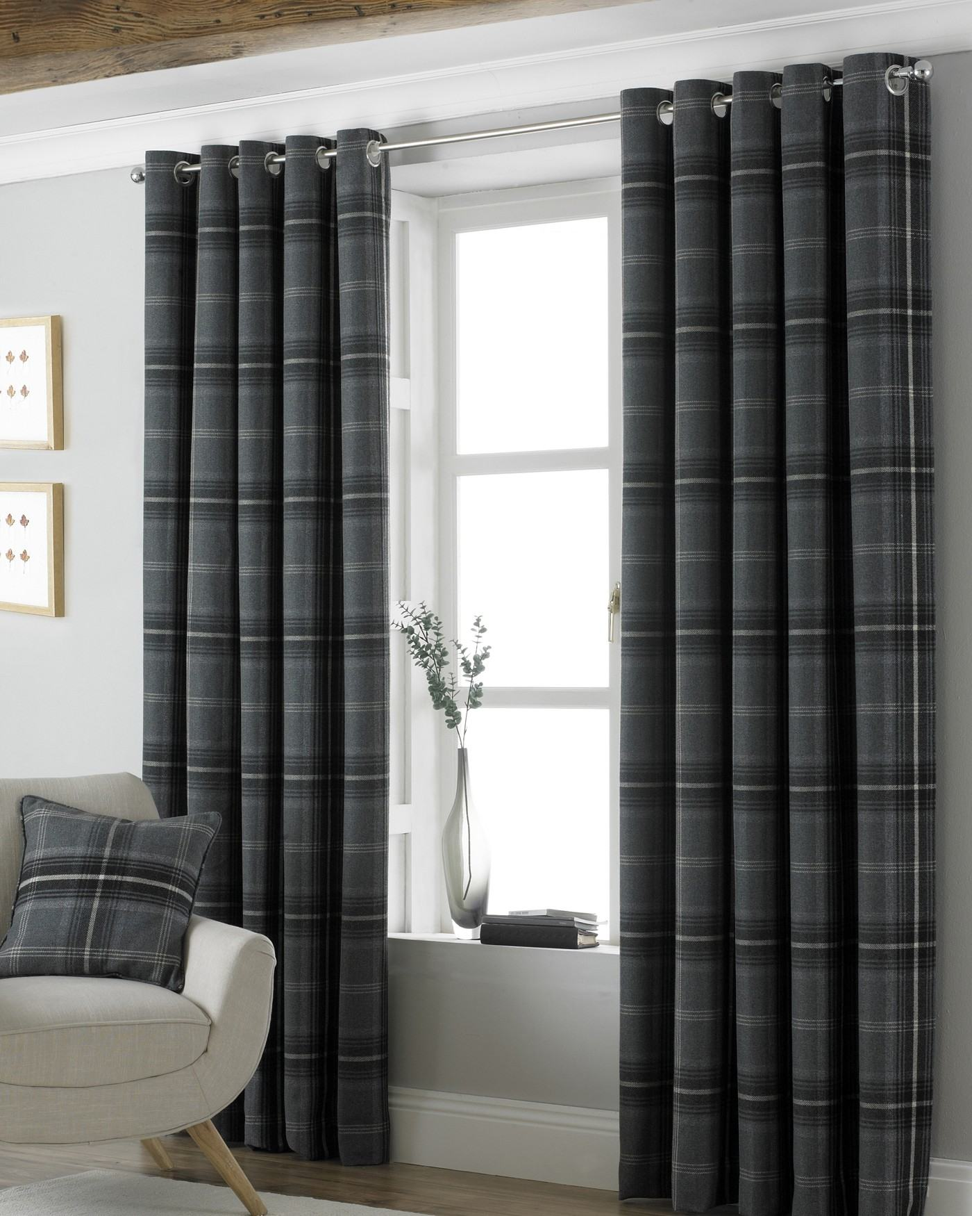 SUPERB HEAVY WEIGHT TARTAN PLAID GREY EYELET HEADING