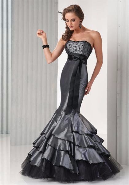 Flirt by Maggie Sottero 4 CHARCOAL MERMAID FORMAL PROM PAGEANT DRESS ...