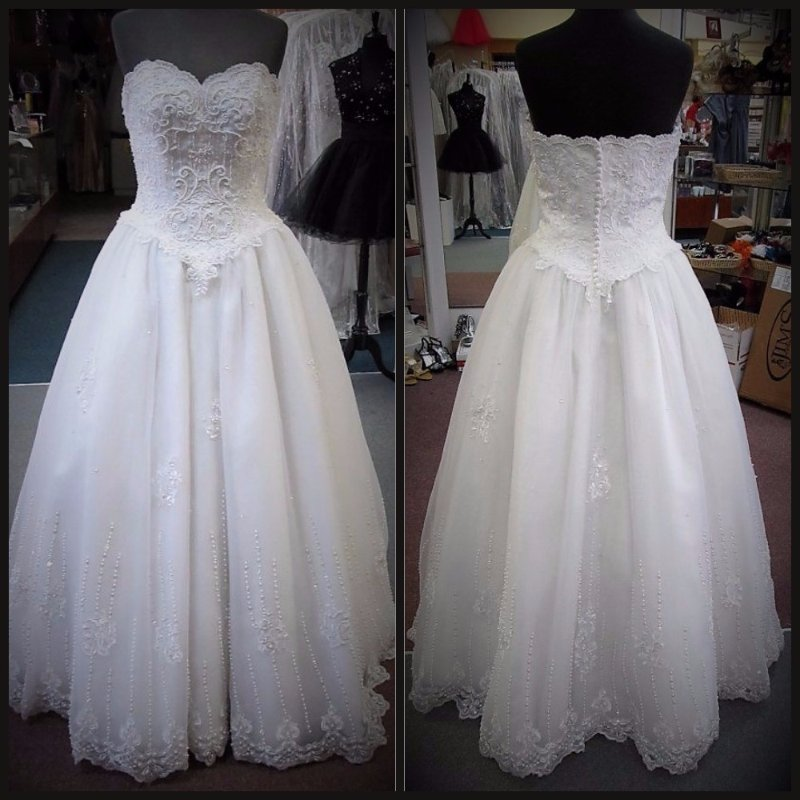 MARY\'S BRIDAL OFF WHITE ORGANZA & PEARLS Bridal Gown Dress Size 6 ...