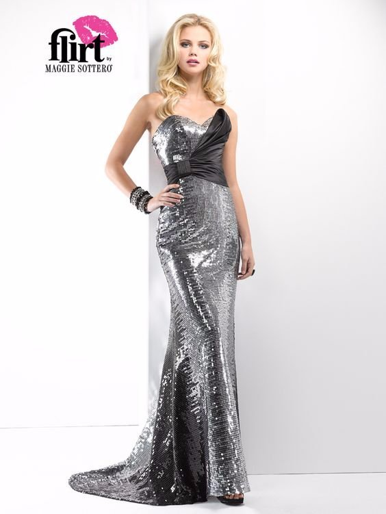 Flirt Maggie Sottero 8 BLACK/SILVER SEQUIN FORMAL PROM PAGEANT DRESS ...