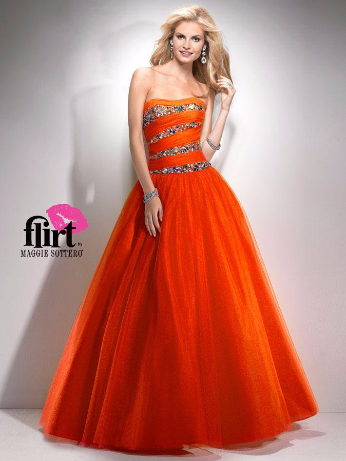 Flirt by Maggie Sottero 6 ORANGE BALLGOWN FORMAL PROM PAGEANT DRESS ...