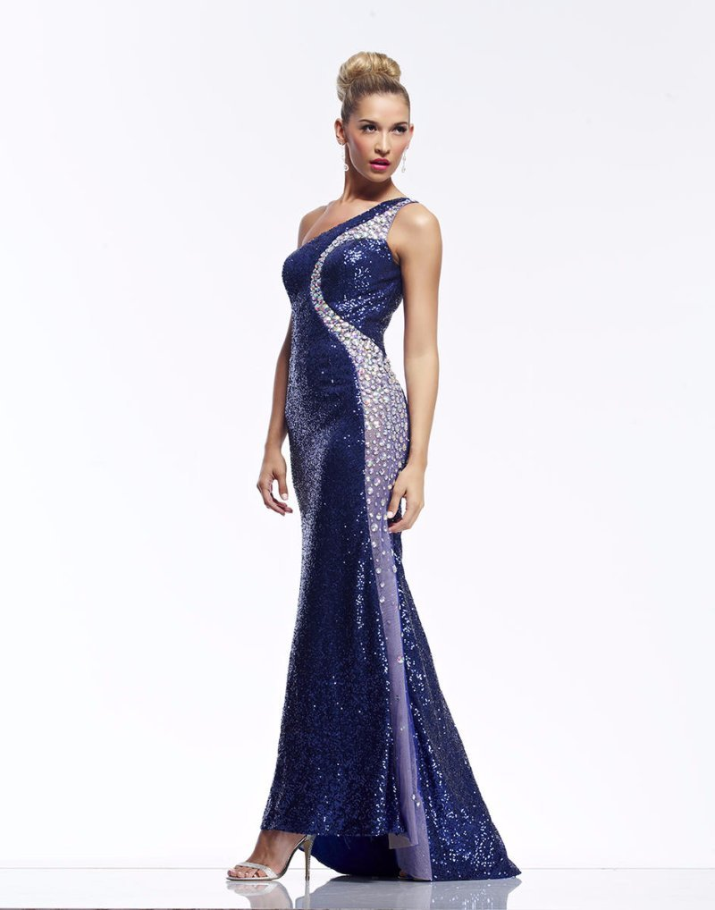 Riva Designs Black Sequin Jeweled Pageant Prom Evening Dress #9702 ...