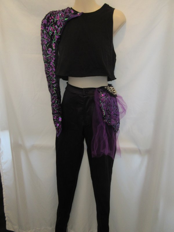 Black Purple Tan Ombre Watercolor Lyrical  Dress Dance Costume Small Adult SA