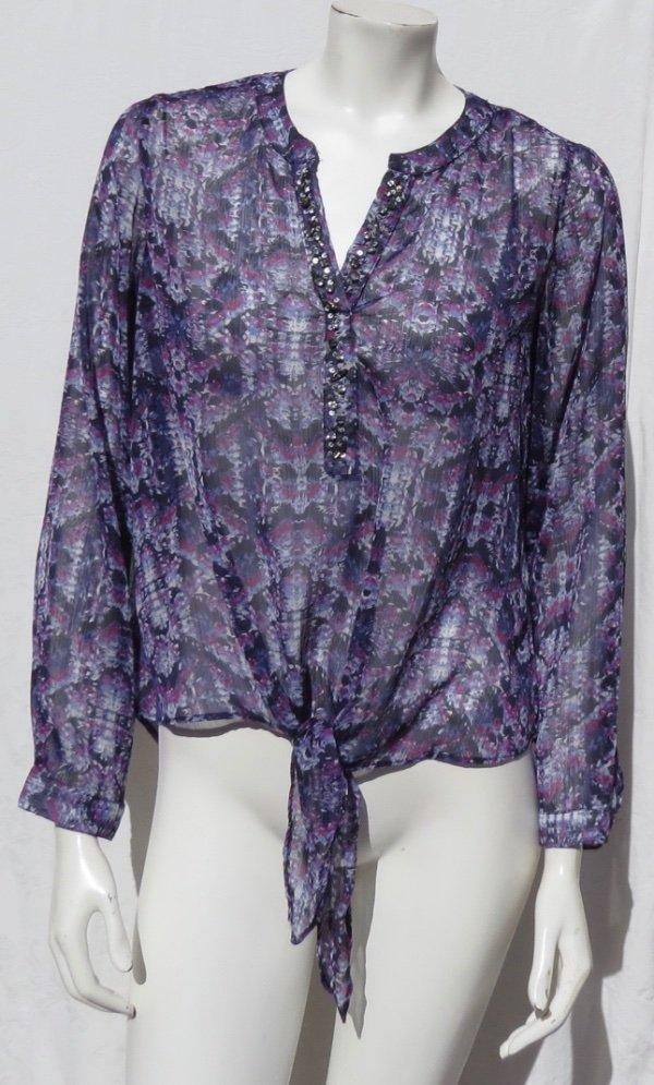 452fecbf2b75c CHICO S Purple Print Airy Chiffon Pullover Tie Waist Shirt Blouse Top size  1 8 10 EUC