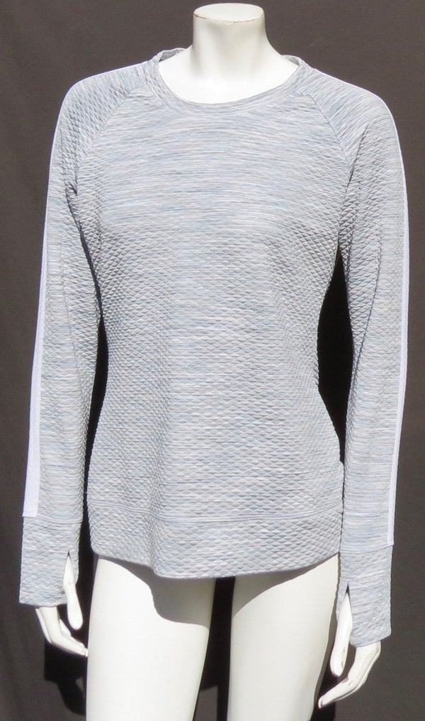 Details about ATHLETA White Gray Quilted Thermal Snowscape Crew Thumbholes Pullover Top US M