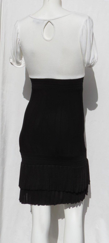 details zu bebe schwarz weiße streifen viskose pullover rippstrick rüschen  s/s kleid gr. s