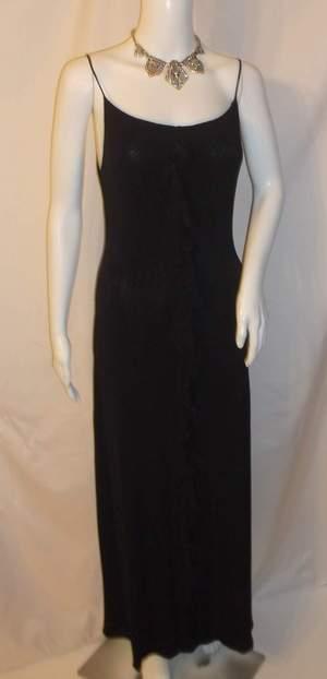 Giorgio Armani Black Grecian Ruffle Rosette Gown Formal Dress Italy