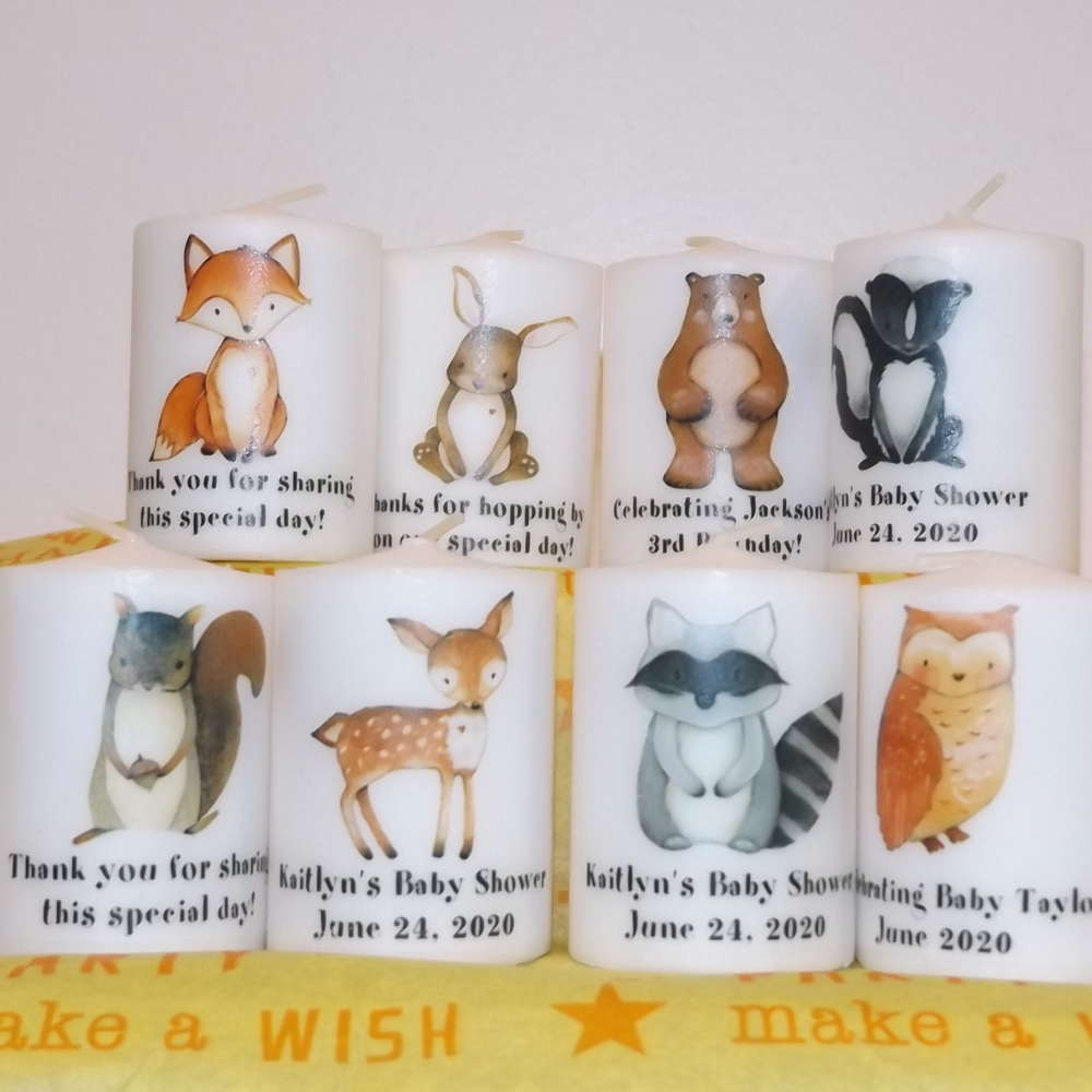 Woodland Animals Rustic Shower Candle Favors - Forest Meadow Animals Favors  | eBay