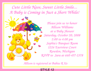 Care Bears Adorable Baby Shower Invitations eBay