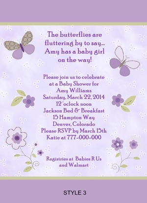 Details About Carter S Garden Party Butterfly Baby Shower Invitations