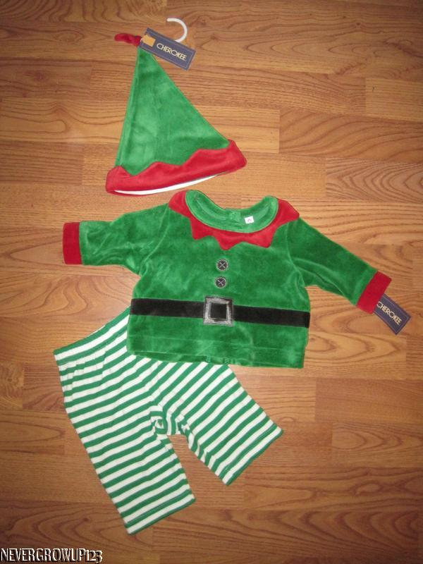 6-9Months   New 0-3M 3-6M Boy Xmas Elf all in one Suit /& Hat Baby Girl