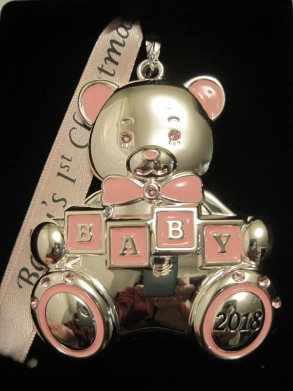 3633636ec 2018 DATED BABY'S 1ST CHRISTMAS SILVER ORNAMENT~GIRL~PINK SWAROVSKI CRYSTALS ~NIB