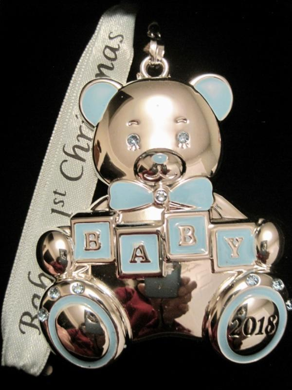 926e611ae 2018 BABY'S 1ST~FIRST CHRISTMAS~BOY~SILVER ORNAMENT~SWAROVSKI CRYSTALS~NIB