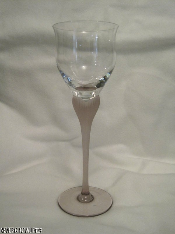 Mikasa Crystal Sea Mist Amethyst Frosted Stem Clear Wine Goblet New