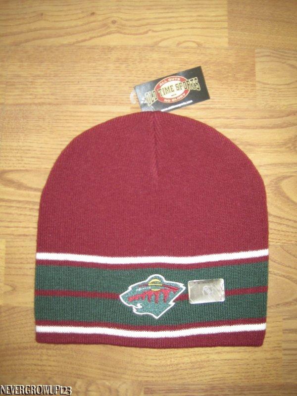 ac10cc43dd9 NHL~RED~GREEN MINNESOTA WILD TEAM LOGO KNIT STOCKING HAT~CAP~BEANIE ...