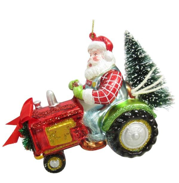 Blown Glass Farmer Santa Christmas Ornament Tractor Tree Farm Nwt Ebay