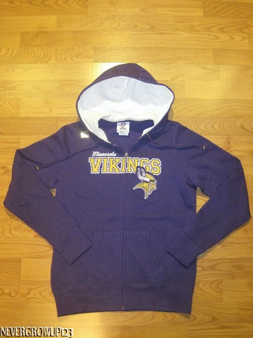 new product d8813 49dcc Details about MINNESOTA VIKINGS WOMENS~LADIES SMALL PURPLE HOODED  SWEATSHIRT~HOODIE~HOODY~NWT