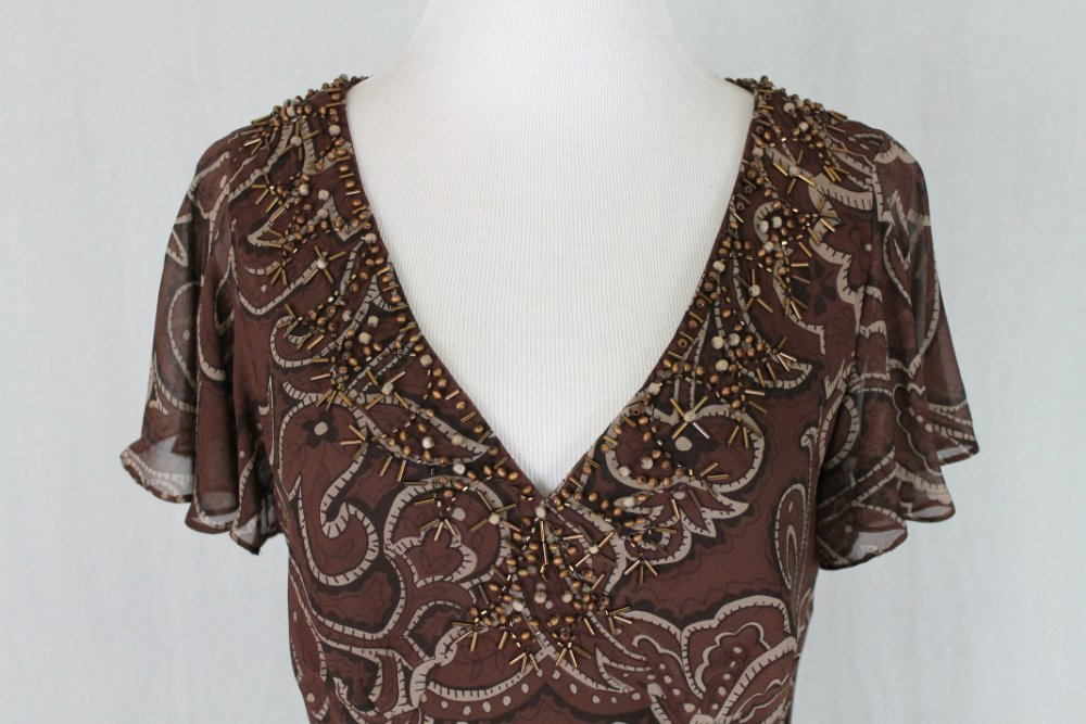 Adrianna papell beaded brown silk batik 1920 39 s gatsby for How to ship a wedding dress usps