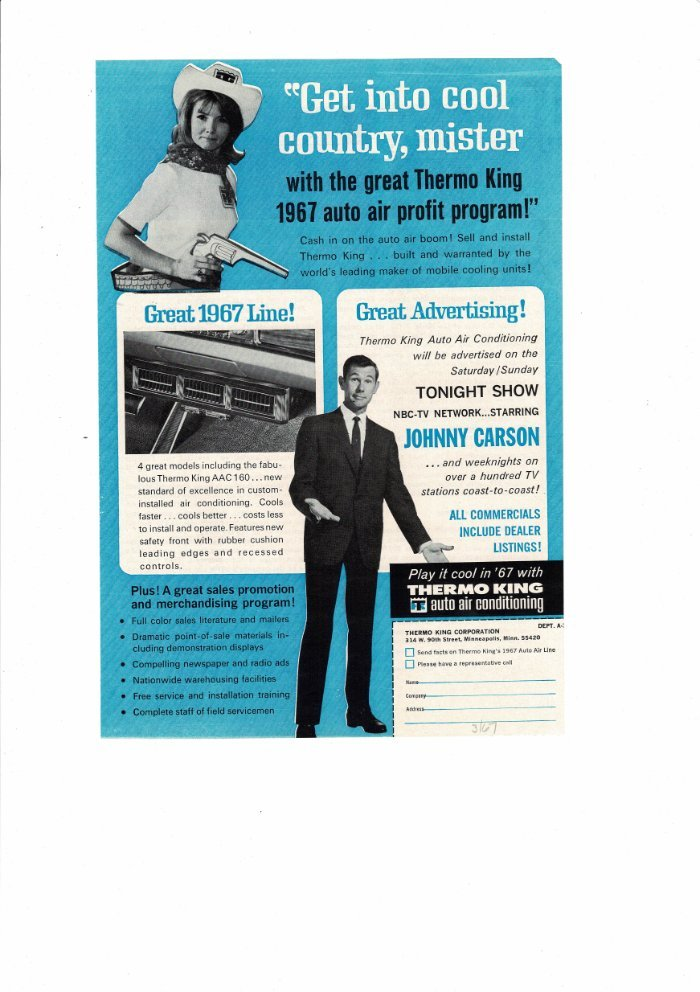 Details about VINTAGE 1967 THERMO KING AUTO AIR CONDITIONING JOHNNY CARSON  AD PRINT #B496