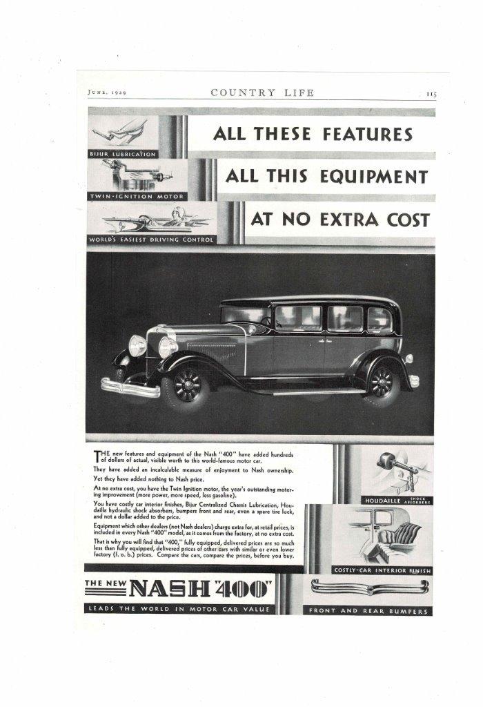 VINTAGE 1929 NASH 400 MOTOR CAR VALUE TWIN ENGINE MOTOR DRIVING ...