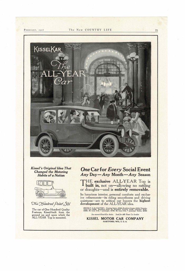 VINTAGE 1917 KISSEL MOTOR CAR COMPANY KISSELKAR ALL YEAR CAR SOCIAL ...
