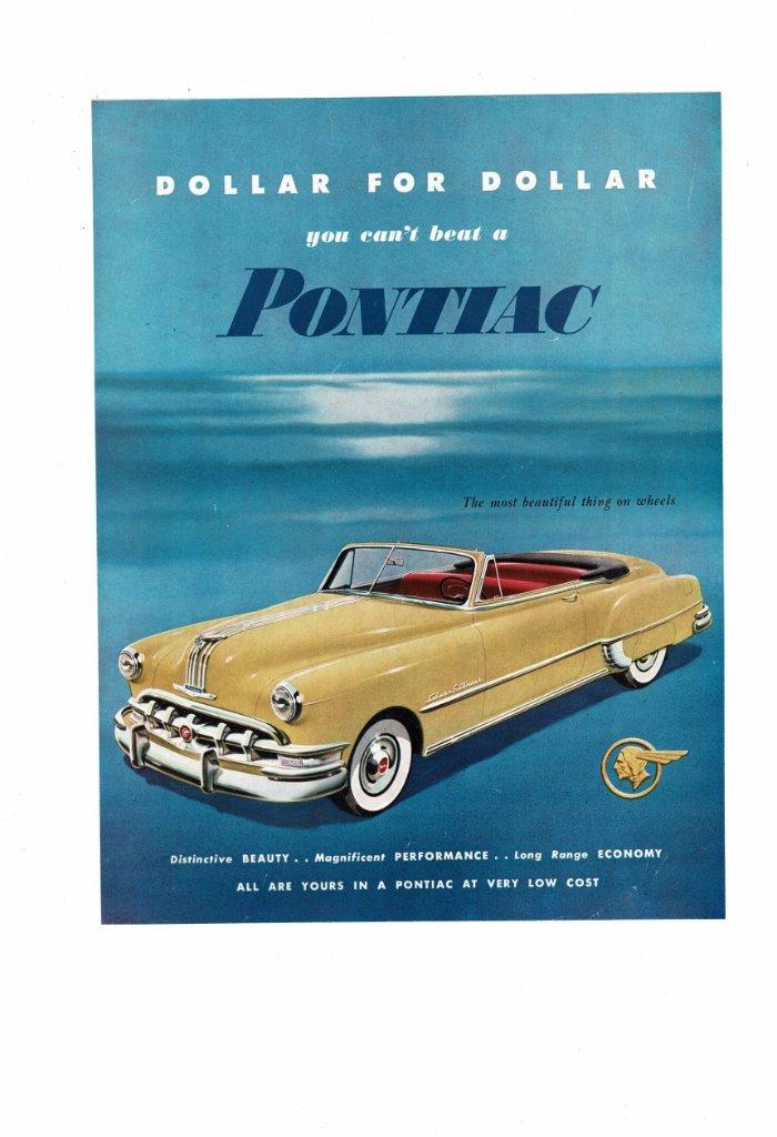 VINTAGE 1950 PONTIAC CONVERTIBLE COUPE SILVER STREAK AUTOMOBILE CAR ...