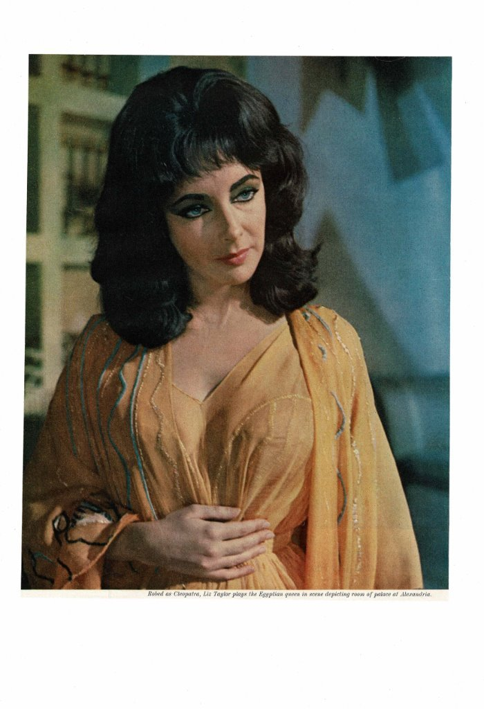VINTAGE 1963 BEAUTIFUL SEXY ELIZABETH LIZ TAYLOR AS CLEOPATRA EGYPTIAN  QUEEN AD PRINT
